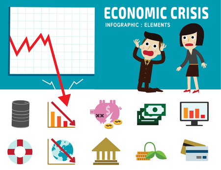 stock market graph: economic crisis frustrated business man cartoon character.