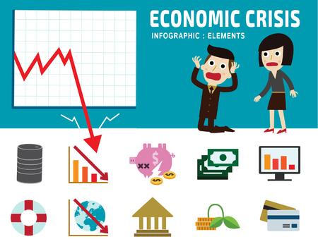 stock exchange brokers: economic crisis frustrated business man cartoon character.