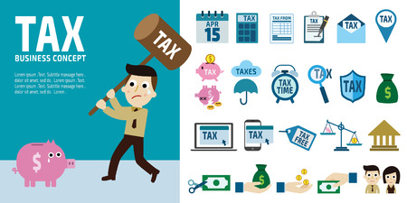 personal banking: tax infographic elements business man hold hammer about to smash piggy bank.cartoon character.
