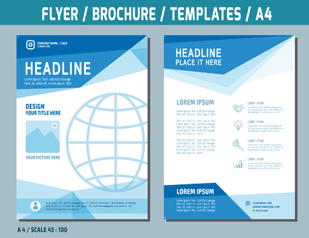 catalog templates: Flyer design vector template in A4 size.brochure booklet cover annual report layout.Business concept illustration.