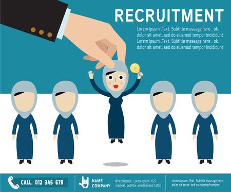 recursos humanos: reclutamiento. la contratación de concepto. escoger el candidato adecuado professional.Isolated en backgroundVector mujeres árabes character.flat de dibujos animados iconos de diseño. ilustración gráfica