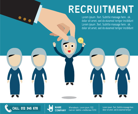 recruitment icon: recruitment. hiring concept. picking the right candidate professional.Isolated on backgroundvector arab women cartoon character.flat  icons design. graphic illustration Illustration