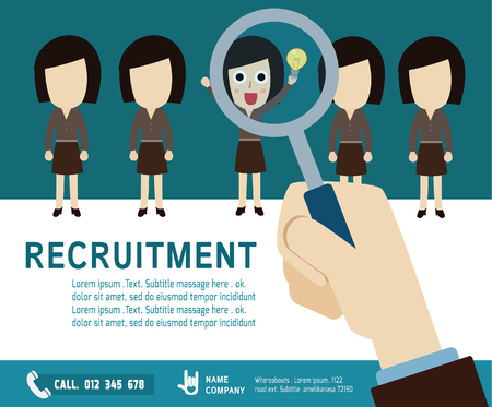recruitment icon: recruitment. hiring concept.choosing the talent person.Isolated on backgroundvector  business woman cartoon.flat  icons design. graphic illustration