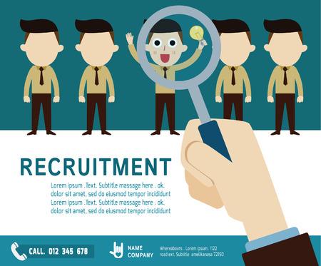 reclutamiento. contratación concept.choosing el talento person.Isolated en backgroundVector empresario cartoon.flat diseño de iconos. ilustración gráfica.