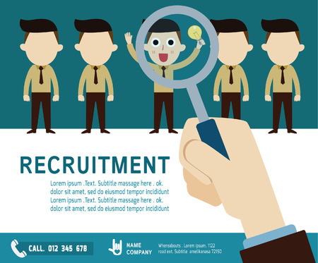 recruitment: recruitment. hiring concept.choosing the talent person.Isolated on backgroundvector  businessman cartoon.flat  icons design. graphic illustration.