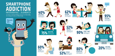 smart phone addiction.bad lifestyle concept.infographic element.vector flat icons cartoon character design.banner header. illustration.isolated on white and blue background. Vettoriali