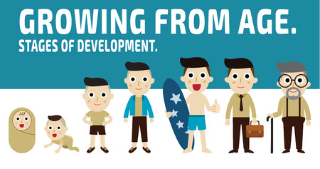growing from age.generation of men from infants to seniors.set of cartoon character isolated on white and blue background.stages of development concept.vector graphic design. illustration. Illustration