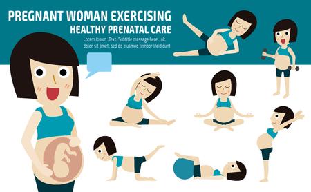motion: gravida exercise.set av hela kroppen mamma koppla av med pilates.wellness conceptmother tecknad character.vector platt moderna ikoner design.brochure illustration.isolated på vit och blå bakgrund.