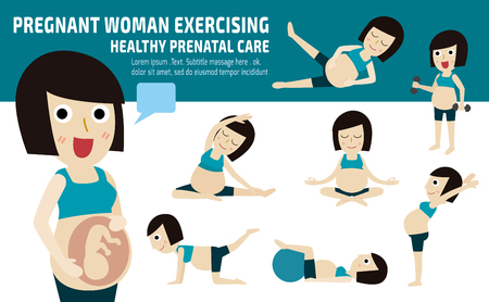 exercise.set incinta di mamma tutto il corpo rilassarsi con icone moderne piatte pilates.wellness conceptmother fumetto character.vector design.brochure illustration.isolated su sfondo bianco e blu.