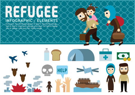 refugee.vector.war victims concept.infographic elements.set of flat icons cartoon character design.banner header. illustration.isolated on white and blue background. Иллюстрация