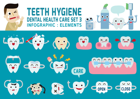 higiene: dientes hygiene.set del diente carácter lindo design.flat iconos modernos design.infographic concepto de atención elements.health. ilustración gráfica, bandera dental header.isolated sobre fondo azul. Vectores