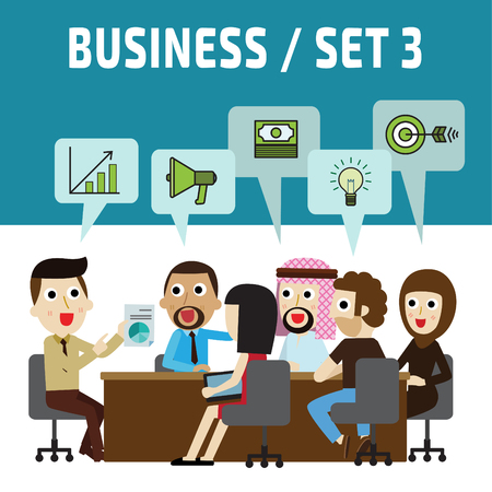 asian business meeting: meeting. brainstorming business concept. business people cartoon character. vector flat modern icons design. brochure illustration. isolated on white and blue background.