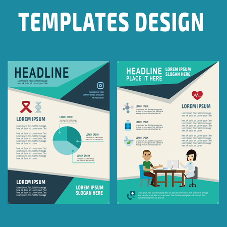 Flyer design vector template in A4 size.brochure booklet cover annual report layout.health concept illustration. Çizim