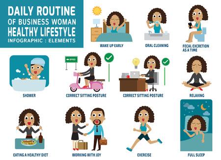 daily routine: rutina diaria de gente de negocios feliz. iconos planos infograf�a concept.vector cuidado element.health ilustraci�n trabajo design.daily gr�fico.