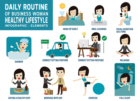 actividad: rutina diaria de gente de negocios feliz. iconos planos infografía concept.vector cuidado element.health ilustración trabajo design.daily gráfico.