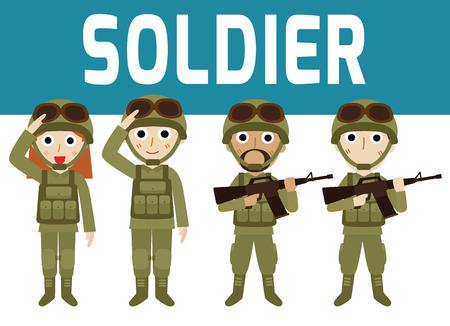 soldado: soldiers.man jóvenes y diseño de personaje de dibujos animados woman.flat aislado en el fondo blanco.