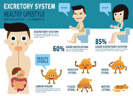 Constipated.excretory system.health Pflege concept.character isoliert auf weiß und blau background.Banner header.illustration. Standard-Bild - 46094589