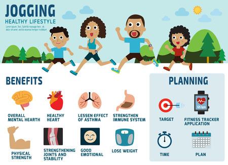 personas trotando: africano americano concept.benefits jogging.healthcare familia de funcionamiento icon.isolated sobre fondo blanco.