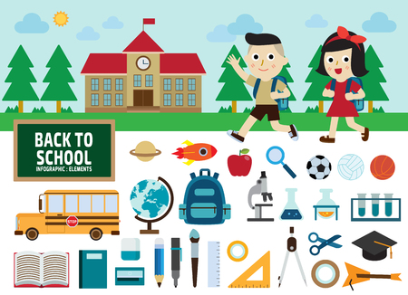 school girl: back to school concept.infographic elements.flat icons design.graphic illustration.
