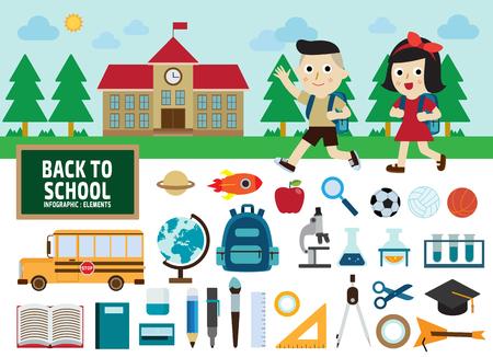 utiles escolares: de nuevo a escuela concept.infographic iconos elements.flat design.graphic ilustración. Vectores