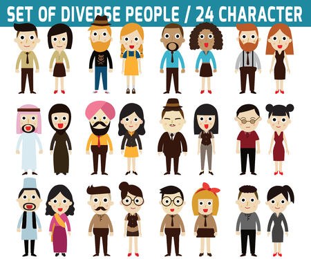 diverse teens: Set of full body diverse business people.infographic elements.flat icons design.graphic illustration. Illustration