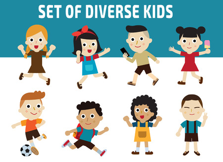 school kids: Set of diversity full length kids.character icons isolated on white and blue background.childhood graphic illustration concept.