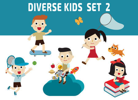 skateboard boy: Set of diversity full length kids. set 2character icons isolated on white and blue background.childhood graphic illustration concept.