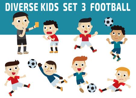 jugador de futbol: Conjunto de la diversidad de larga duración en niños. establecer 3football iconos concept.character aisladas en background.childhood blanco y azul gráfico ilustración concepto. Vectores