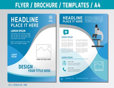 informe: Plantilla de diseño de folleto en formato A4. Ilustración Concepto médico. Vectores