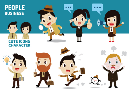 asian businesswoman: set of character full body business people Illustration