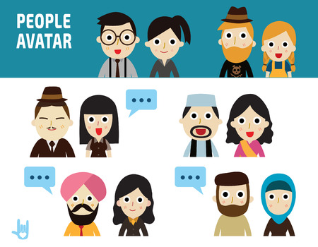 middle east: set of character avatar business people