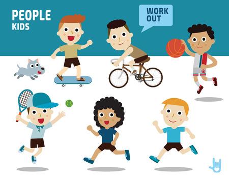 icono deportes: conjunto de niños con carácter diverso de vestuario y poses Vectores