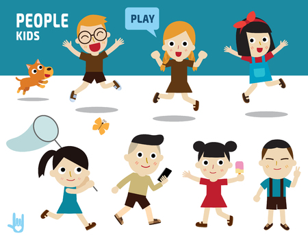 school activities: set of character kids with diverse of costume and poses