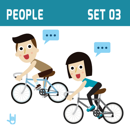 Healthy and happy cyclist couple riding