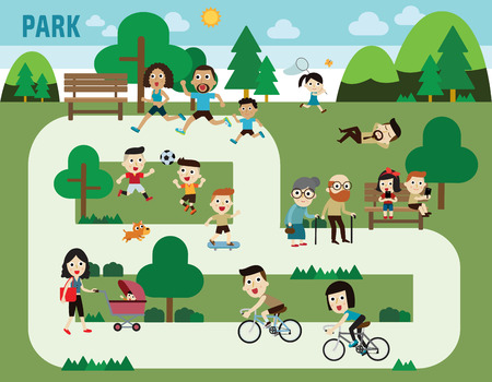 niños en bicicleta: personas en el parque elementos infográficos diseño plano ilustración
