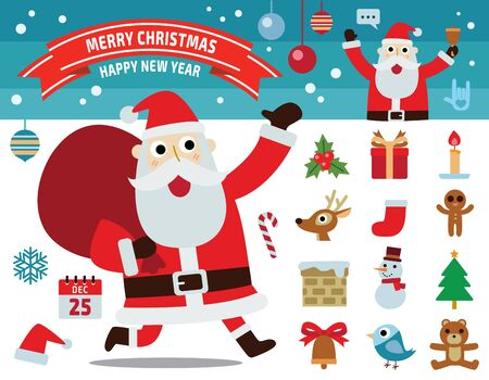 christmas tree set: santa claus motion.collection of merry christmas concept.flat icons design illustration.
