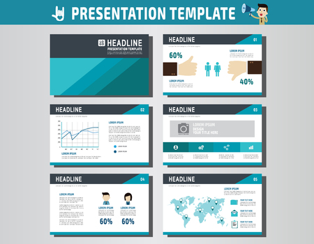 present presentation: collection of multipurpose presentation template. icons Infographic element. company advert marketing concept. abstract blue flyer layout brochure modern style. flat leaflet illustration. Illustration