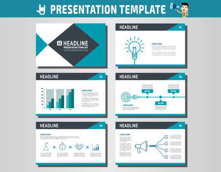 powerpoint: collection of multipurpose presentation template. icons Infographic element. company advert marketing concept. abstract blue flyer layout brochure modern style. flat leaflet illustration. Illustration