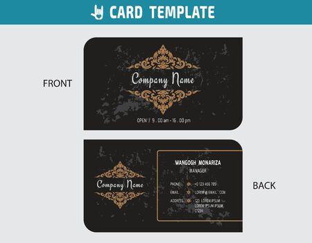 thai style: namecard, Thai art decorative illustration concept.gold and black design modern style.