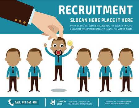 pick: Recruitment.  Picking the right candidate professionalbanner  poster background  illustration concept.flat vector design