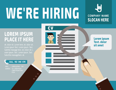 resume: Hiring.Use a magnifying glass to see the resume.banner  poster background  illustrationflat vector design