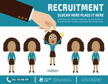 find staff: Recruitment.  Picking the right candidate professionalbanner  poster background  illustration concept.flat vector design
