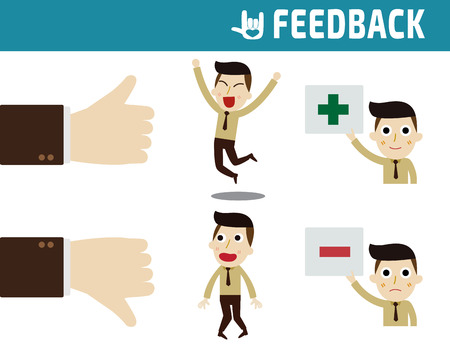 feedback: feedback.full body business people happy and unhappy.business concept.flat design illustration. Illustration