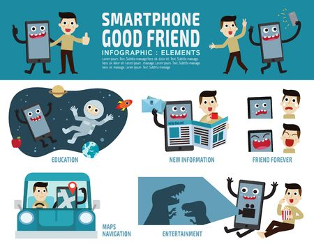 happyness: smartphone addiction.good lifestyle concept.infographic element.banner header illustrationisolated on white and blue background. Illustration