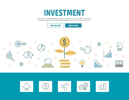 investment: flat line design concept for invesment.modern linear icons vector illustration.for presentation web banner. online tutorials.laendig page. printed materialsisolated on white backdrop