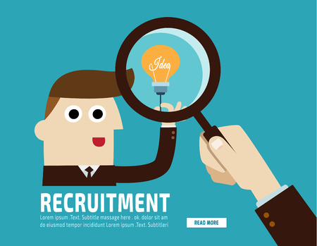 Hiring. Recruitment. Hand holding  magnifying glass.finding businessman.flat vector  illustration corporate concept.for presentation web banner poster printed materials.