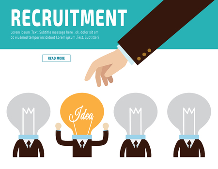 job interview: Hiring. Recruitment. Hand choosing  businessman people.flat vector  illustration concept.for presentation web banner poster printed materials.isolated on white background