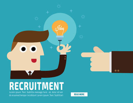 talented: Hiring. Recruitment. Hand pointing  business people.finding businessman.flat vector  illustration concept.for presentation web banner poster printed materials.