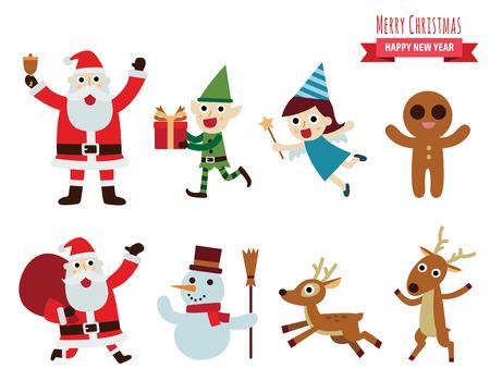 running reindeer: Christmas vector characters.design elements set  illustration. Illustration
