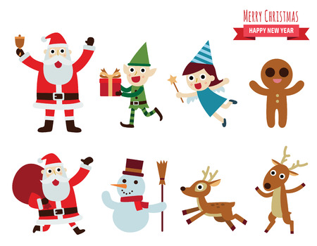 Christmas vector characters.design elements set  illustration. Stock Illustratie